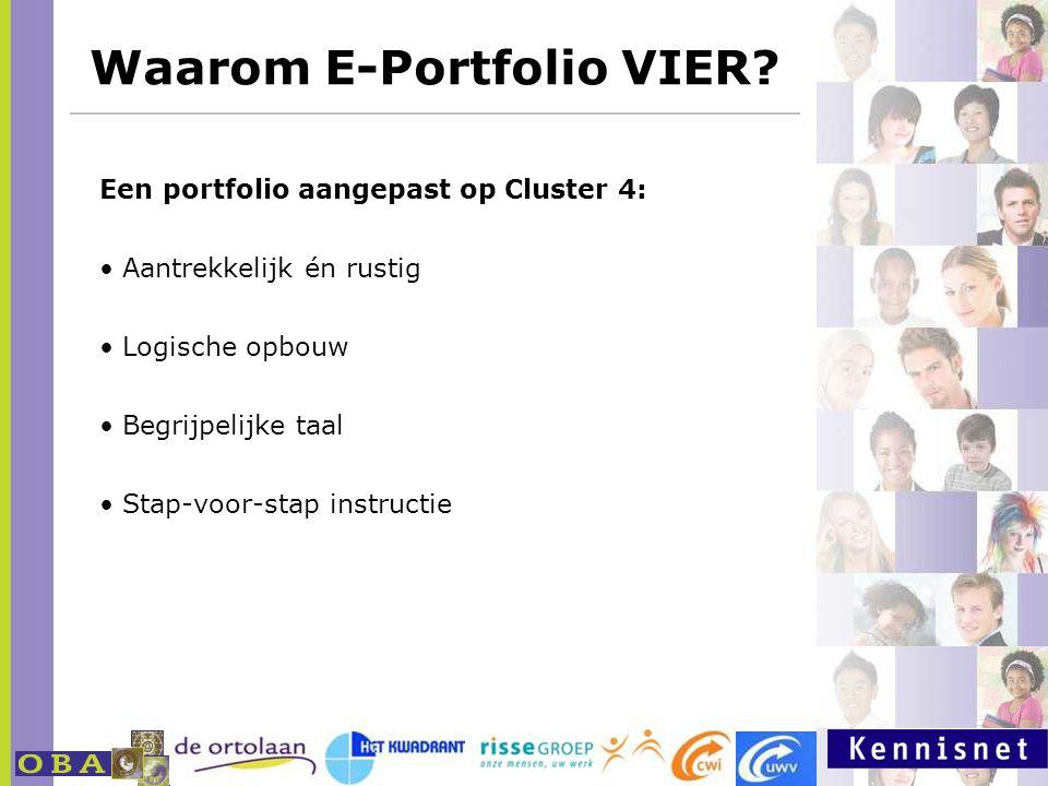 Waarom E-Portfolio VIER? http://www.milestoneseportfolio.nl Een portfolio aangepast op Cluster 4: Aantrekkelijk én rustig Logische opbouw Begrijpelijk