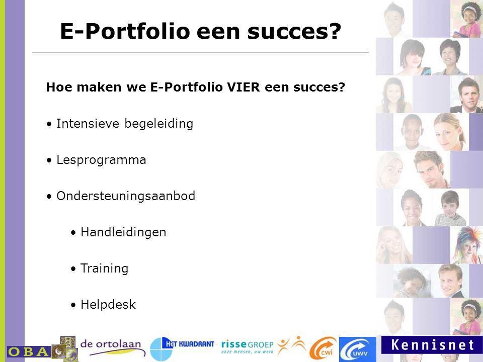 E-Portfolio een succes? http://www.milestoneseportfolio.nl Hoe maken we E-Portfolio VIER een succes? Intensieve begeleiding Lesprogramma Ondersteuning