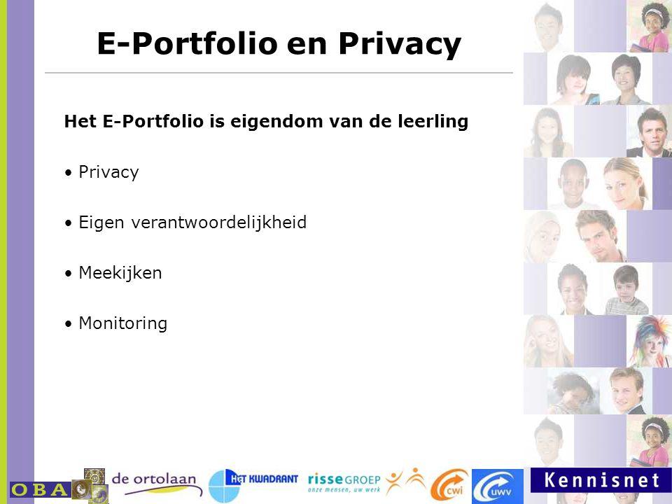 E-Portfolio en Privacy http://www.milestoneseportfolio.nl Het E-Portfolio is eigendom van de leerling Privacy Eigen verantwoordelijkheid Meekijken Mon
