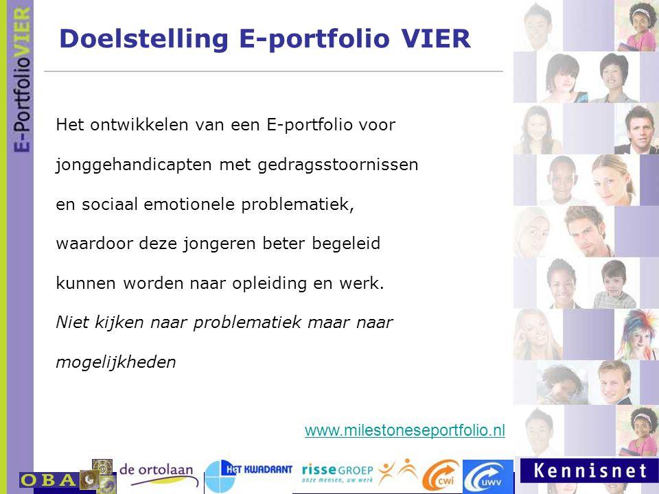 E-portfolio: Een leven lang leren 23 januari 2007 Doelstelling E-portfolio VIER www.milestoneseportfolio.nl Het ontwikkelen van een E-portfolio voor j