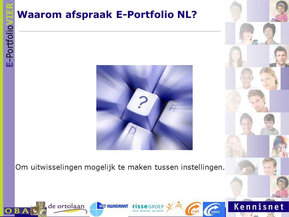 E-portfolio: Een leven lang leren 23 januari 2007 Om uitwisselingen mogelijk te maken tussen instellingen. Waarom afspraak E-Portfolio NL?