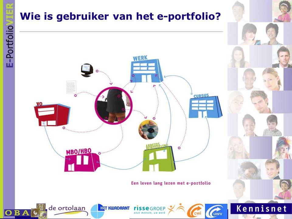 E-portfolio: Een leven lang leren 23 januari 2007 Wie is gebruiker van het e-portfolio?