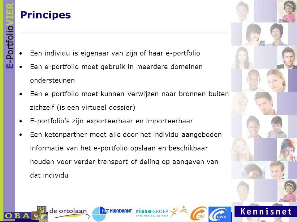 E-portfolio: Een leven lang leren 23 januari 2007 Principes Een individu is eigenaar van zijn of haar e-portfolio Een e-portfolio moet gebruik in meer