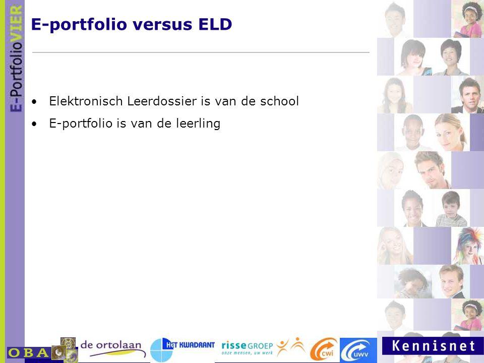 E-portfolio: Een leven lang leren 23 januari 2007 Elektronisch Leerdossier is van de school E-portfolio is van de leerling E-portfolio versus ELD