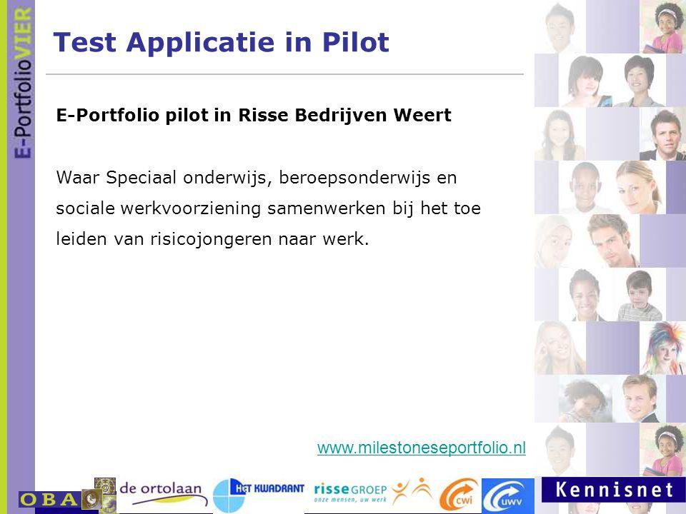 E-portfolio: Een leven lang leren 23 januari 2007 Test Applicatie in Pilot E-Portfolio pilot in Risse Bedrijven Weert Waar Speciaal onderwijs, beroeps