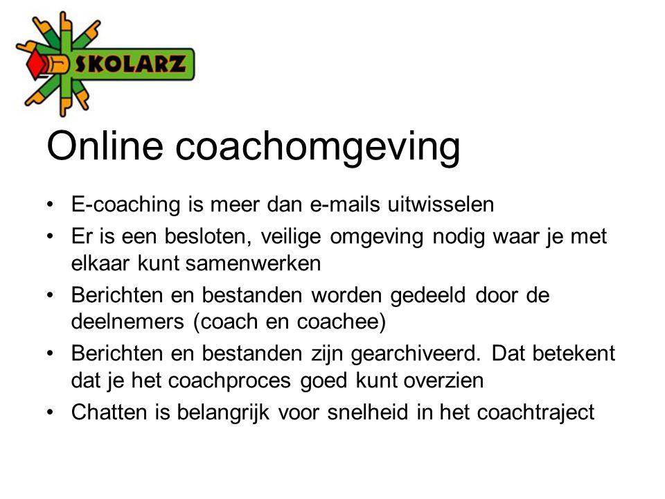 Online coachomgeving E-coaching is meer dan e-mails uitwisselen Er is een besloten, veilige omgeving nodig waar je met elkaar kunt samenwerken Berichten en bestanden worden gedeeld door de deelnemers (coach en coachee) Berichten en bestanden zijn gearchiveerd.