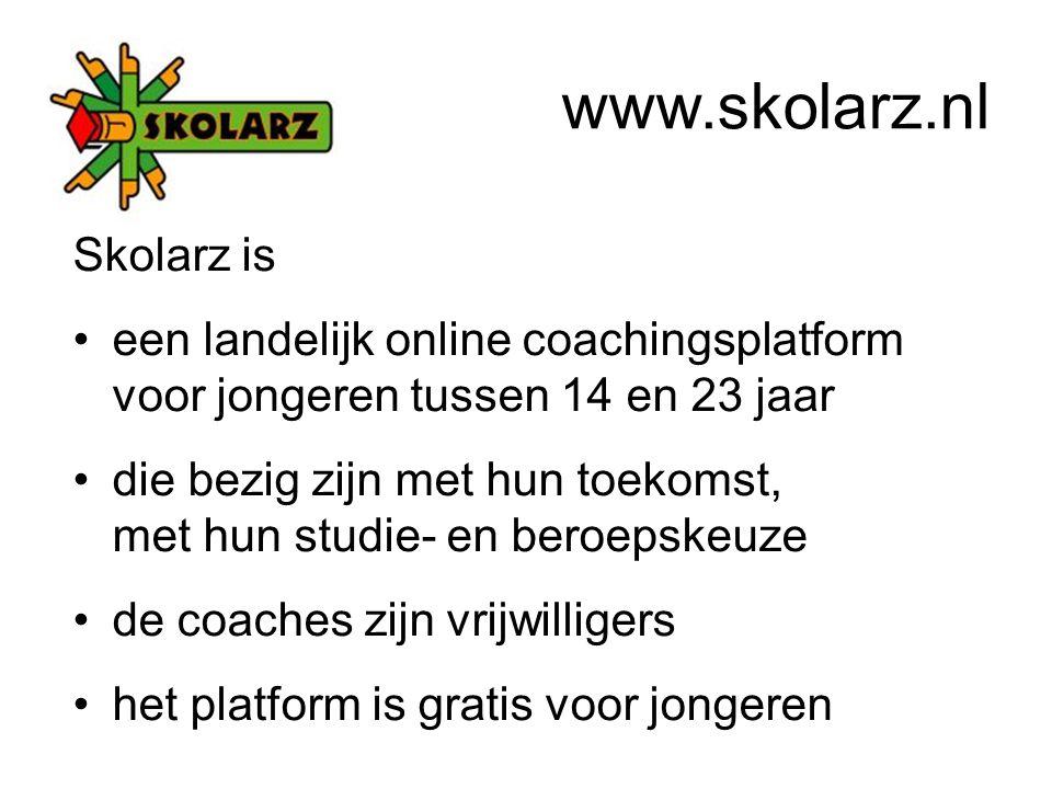 Skolarz is een landelijk online coachingsplatform voor jongeren tussen 14 en 23 jaar die bezig zijn met hun toekomst, met hun studie- en beroepskeuze de coaches zijn vrijwilligers het platform is gratis voor jongeren www.skolarz.nl