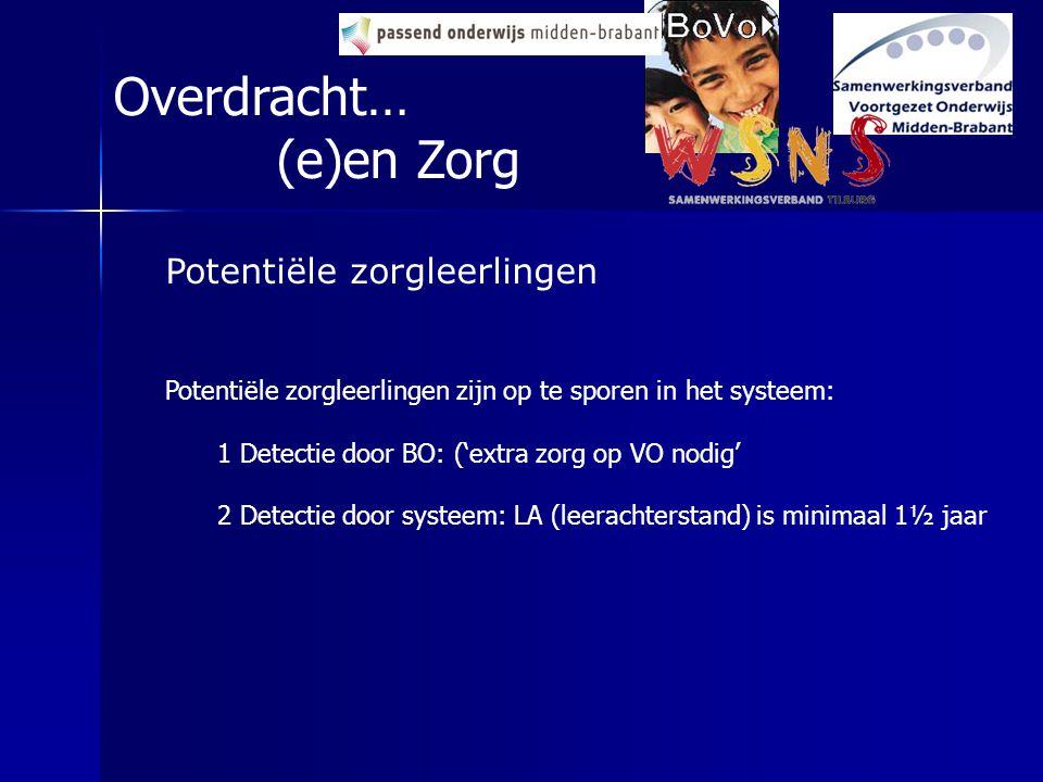 Potentiële zorgleerlingen Potentiële zorgleerlingen zijn op te sporen in het systeem: 1 Detectie door BO: ('extra zorg op VO nodig' 2 Detectie door sy
