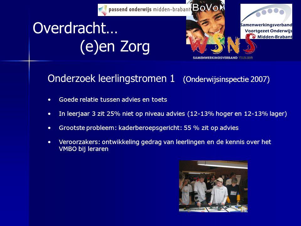 Overdracht… (e)en Zorg Onderzoek leerlingstromen 1 (Onderwijsinspectie 2007) Goede relatie tussen advies en toets In leerjaar 3 zit 25% niet op niveau