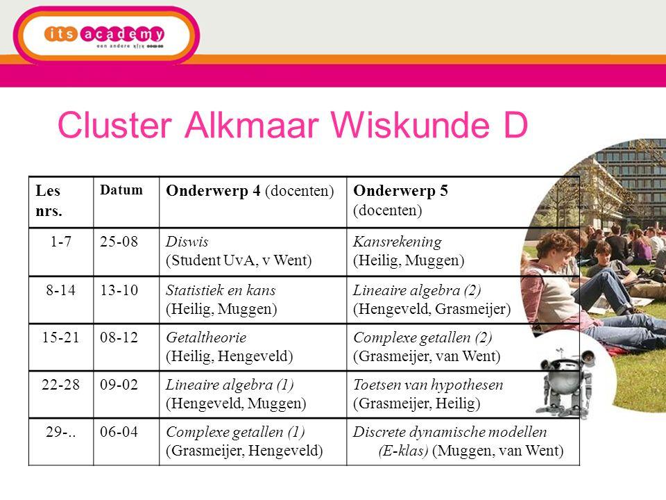 Cluster Alkmaar Wiskunde D Les nrs. Datum Onderwerp 4 (docenten) Onderwerp 5 (docenten) 1-725-08Diswis (Student UvA, v Went) Kansrekening (Heilig, Mug