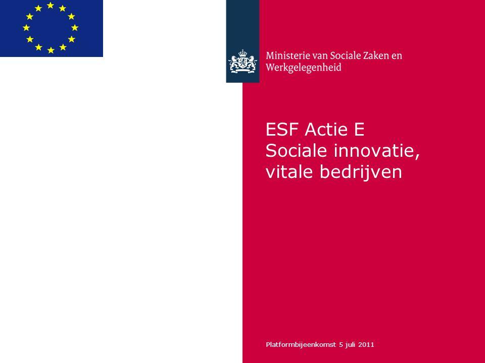 Platformbijeenkomst 5 juli 2011 ESF Actie E Sociale innovatie, vitale bedrijven