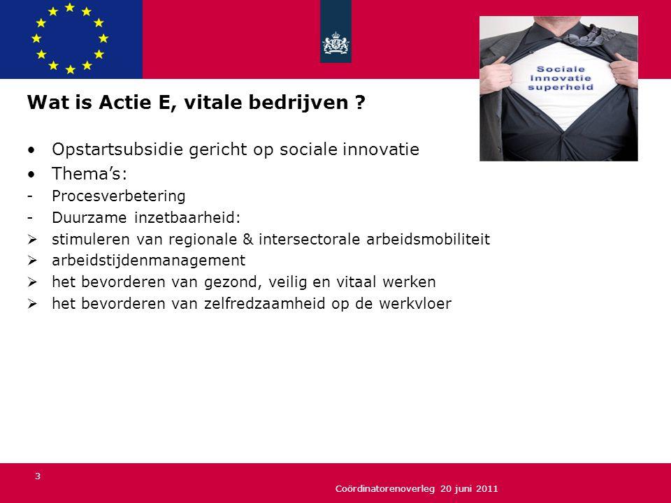 Coördinatorenoverleg 20 juni 2011 3 Wat is Actie E, vitale bedrijven ? Opstartsubsidie gericht op sociale innovatie Thema's: -Procesverbetering -Duurz