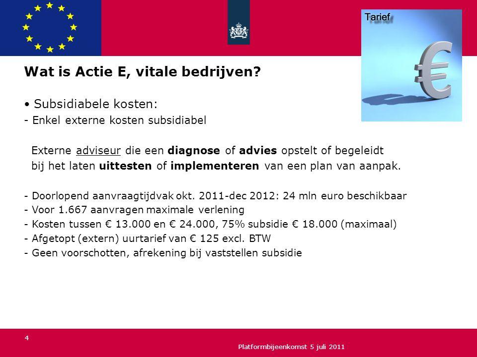 Wat is Actie E, vitale bedrijven? Subsidiabele kosten: - Enkel externe kosten subsidiabel Externe adviseur die een diagnose of advies opstelt of begel