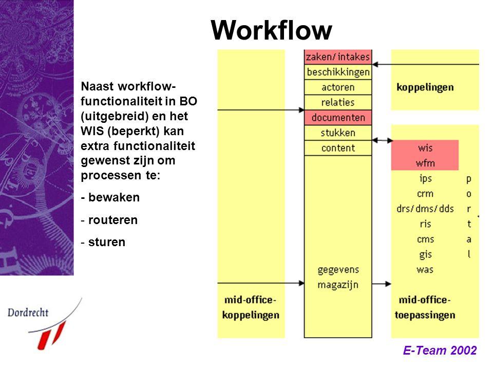 E-Team 2002 Workflow Naast workflow- functionaliteit in BO (uitgebreid) en het WIS (beperkt) kan extra functionaliteit gewenst zijn om processen te: -