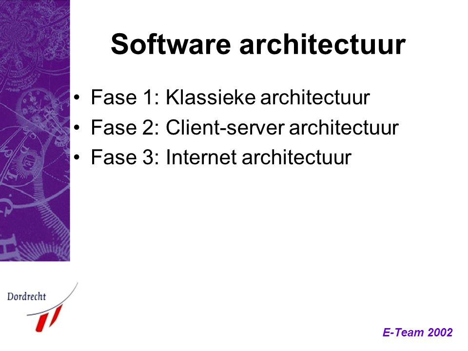 E-Team 2002 Software architectuur Fase 1: Klassieke architectuur Fase 2: Client-server architectuur Fase 3: Internet architectuur