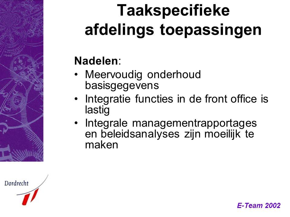 E-Team 2002 Taakspecifieke afdelings toepassingen Nadelen: Meervoudig onderhoud basisgegevens Integratie functies in de front office is lastig Integra