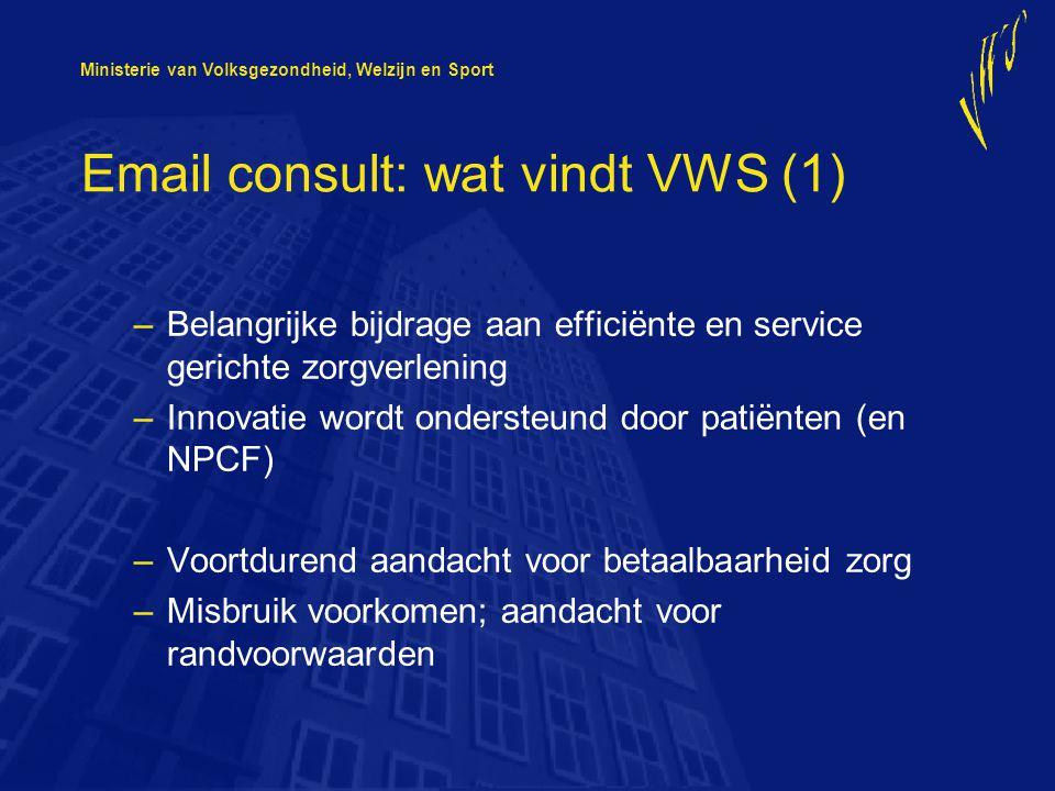 Ministerie van Volksgezondheid, Welzijn en Sport Email consult: wat vindt VWS (1) –Belangrijke bijdrage aan efficiënte en service gerichte zorgverlening –Innovatie wordt ondersteund door patiënten (en NPCF) –Voortdurend aandacht voor betaalbaarheid zorg –Misbruik voorkomen; aandacht voor randvoorwaarden