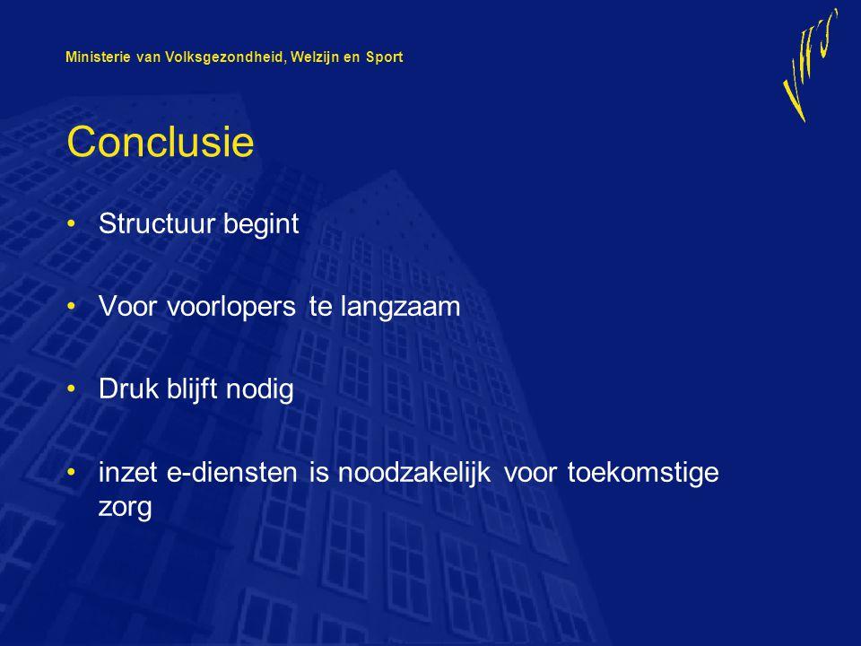 Ministerie van Volksgezondheid, Welzijn en Sport Conclusie Structuur begint Voor voorlopers te langzaam Druk blijft nodig inzet e-diensten is noodzakelijk voor toekomstige zorg