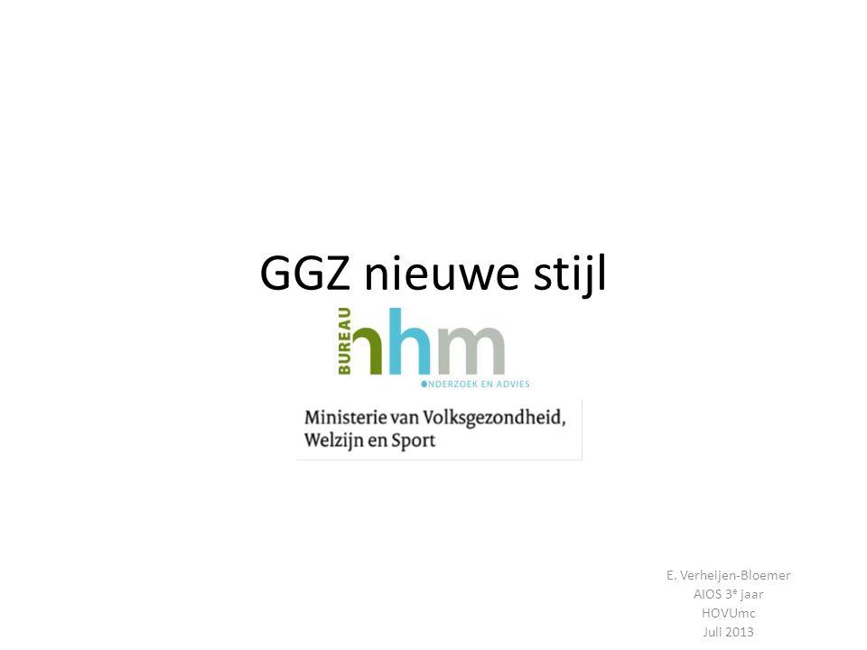 Inleiding GGZ wordt opgesplitst in: Huisartsenzorg incl POH-GGZ Generalistische basis GGZ Gespecialiseerde GGZ Doel: verschuiving van 2 e lijns GGZ-problematiek naar 1 e lijn tbv kostenbesparing.