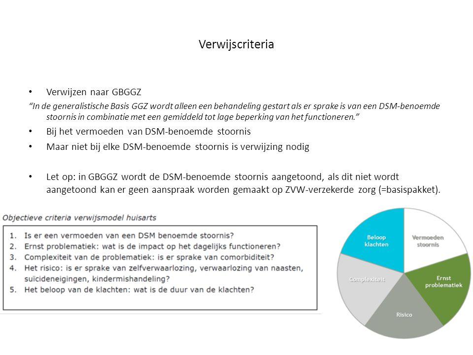 Verwijzing : Verwijzing naar de GGGZ is aan de orde bij een hoog risico en/of hoge complexiteit bij vermoeden van een DSM-benoemde stoornis.