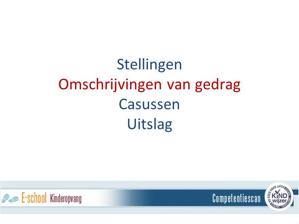 Stellingen Omschrijvingen van gedrag Casussen Uitslag.