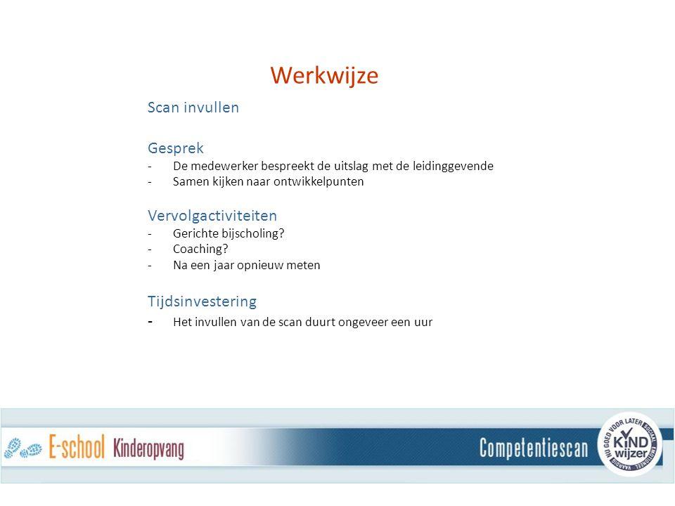 Werkwijze Scan invullen Gesprek -De medewerker bespreekt de uitslag met de leidinggevende -Samen kijken naar ontwikkelpunten Vervolgactiviteiten - Gerichte bijscholing.