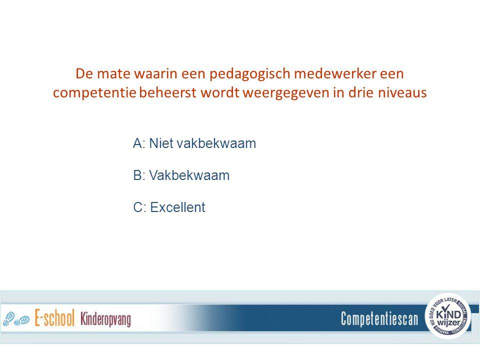 De mate waarin een pedagogisch medewerker een competentie beheerst wordt weergegeven in drie niveaus A: Niet vakbekwaam B: Vakbekwaam C: Excellent