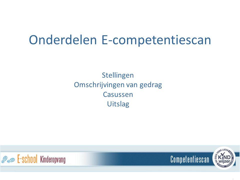 Stellingen Omschrijvingen van gedrag Casussen Uitslag. Onderdelen E-competentiescan