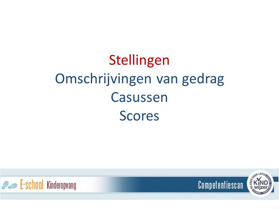 Stellingen Omschrijvingen van gedrag Casussen Scores.