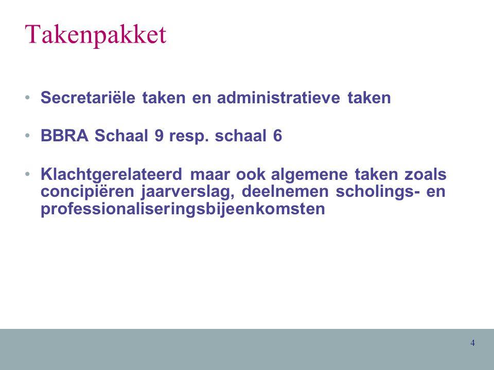 4 Takenpakket Secretariële taken en administratieve taken BBRA Schaal 9 resp.
