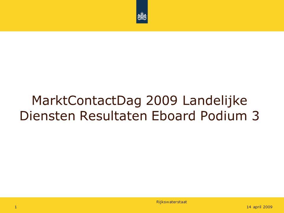 Rijkswaterstaat 114 april 2009 MarktContactDag 2009 Landelijke Diensten Resultaten Eboard Podium 3