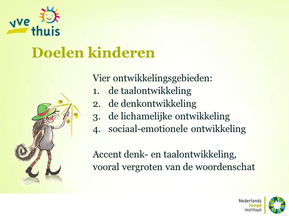 Vier ontwikkelingsgebieden: 1.de taalontwikkeling 2.de denkontwikkeling 3.de lichamelijke ontwikkeling 4.sociaal-emotionele ontwikkeling Accent denk-