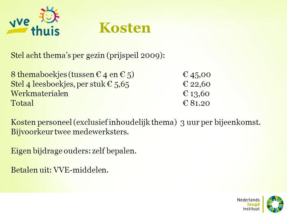 Kosten Stel acht thema's per gezin (prijspeil 2009): 8 themaboekjes (tussen € 4 en € 5)€ 45,00 Stel 4 leesboekjes, per stuk € 5,65€ 22,60 Werkmaterial