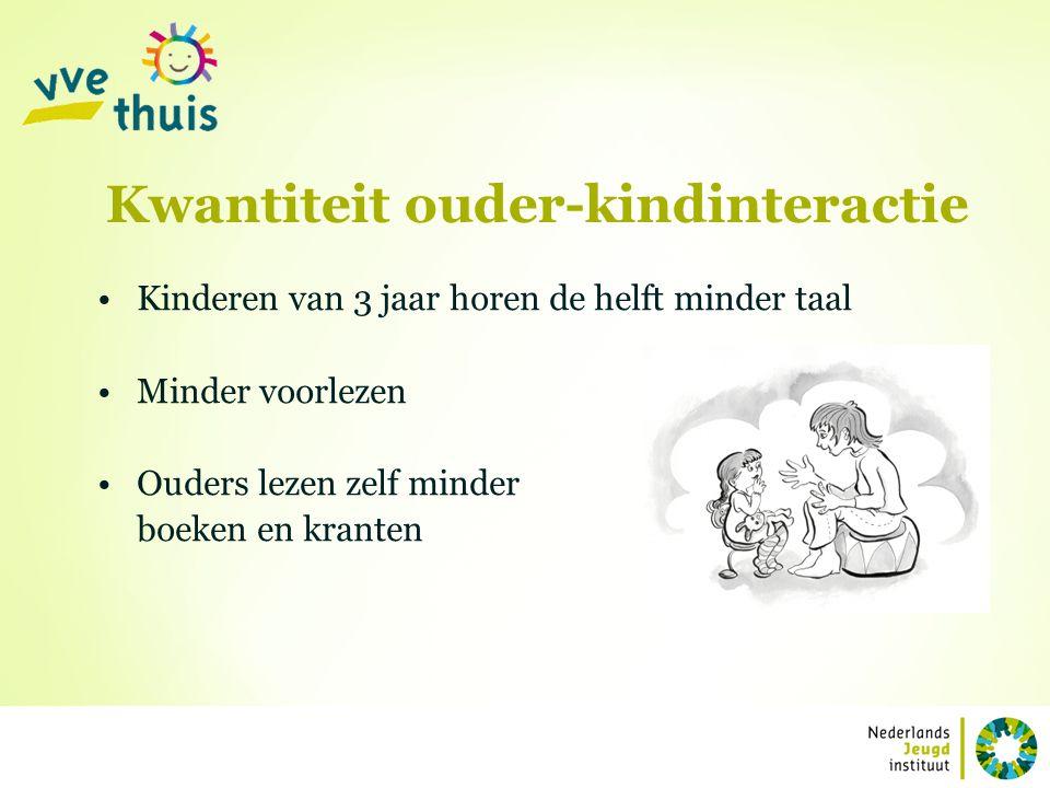 Kwantiteit ouder-kindinteractie Kinderen van 3 jaar horen de helft minder taal Minder voorlezen Ouders lezen zelf minder boeken en kranten