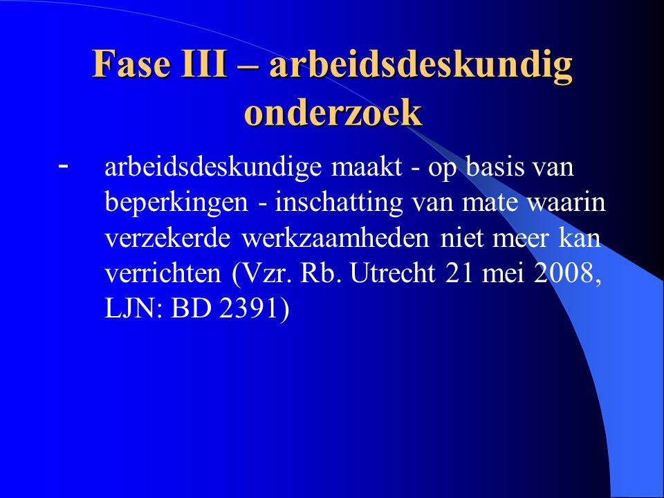 Fase III – arbeidsdeskundig onderzoek - arbeidsdeskundige maakt - op basis van beperkingen - inschatting van mate waarin verzekerde werkzaamheden niet