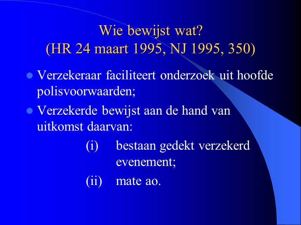Wie bewijst wat? (HR 24 maart 1995, NJ 1995, 350) Verzekeraar faciliteert onderzoek uit hoofde polisvoorwaarden; Verzekerde bewijst aan de hand van ui