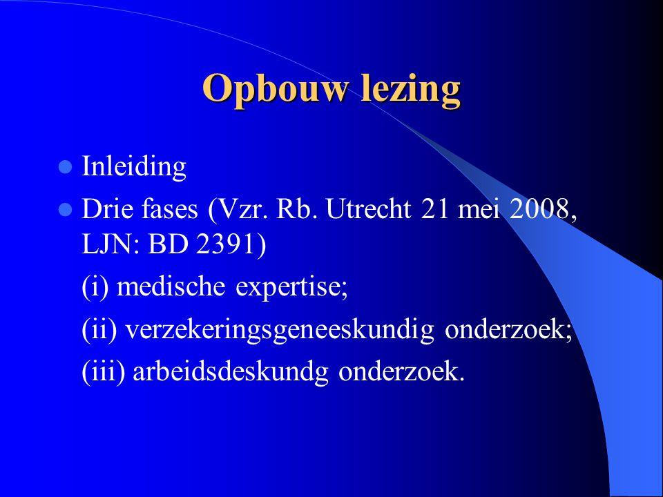 Opbouw lezing Inleiding Drie fases (Vzr. Rb. Utrecht 21 mei 2008, LJN: BD 2391) (i) medische expertise; (ii) verzekeringsgeneeskundig onderzoek; (iii)