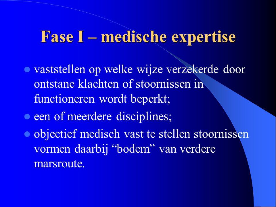 Fase I – medische expertise vaststellen op welke wijze verzekerde door ontstane klachten of stoornissen in functioneren wordt beperkt; een of meerdere