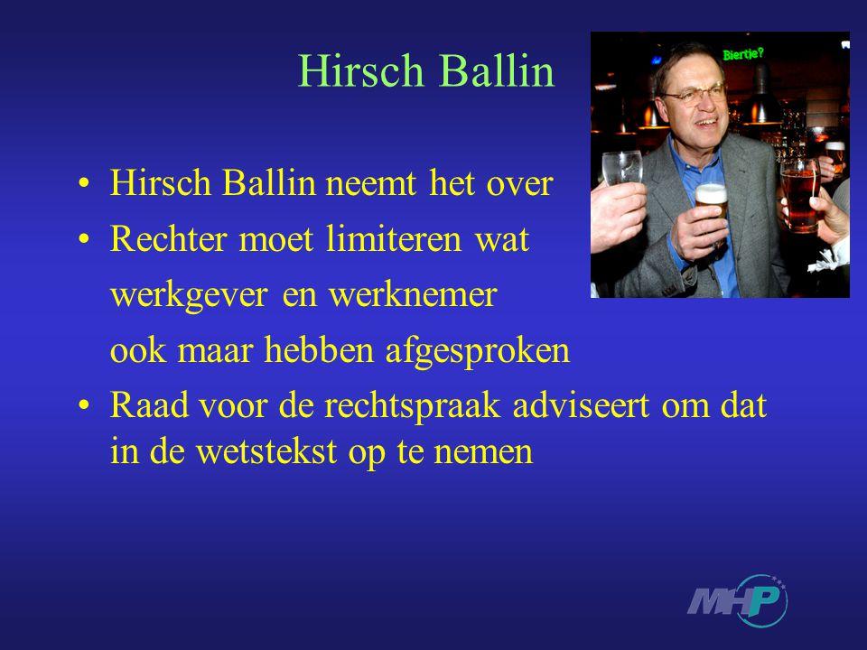 Hirsch Ballin Hirsch Ballin neemt het over Rechter moet limiteren wat werkgever en werknemer ook maar hebben afgesproken Raad voor de rechtspraak adviseert om dat in de wetstekst op te nemen