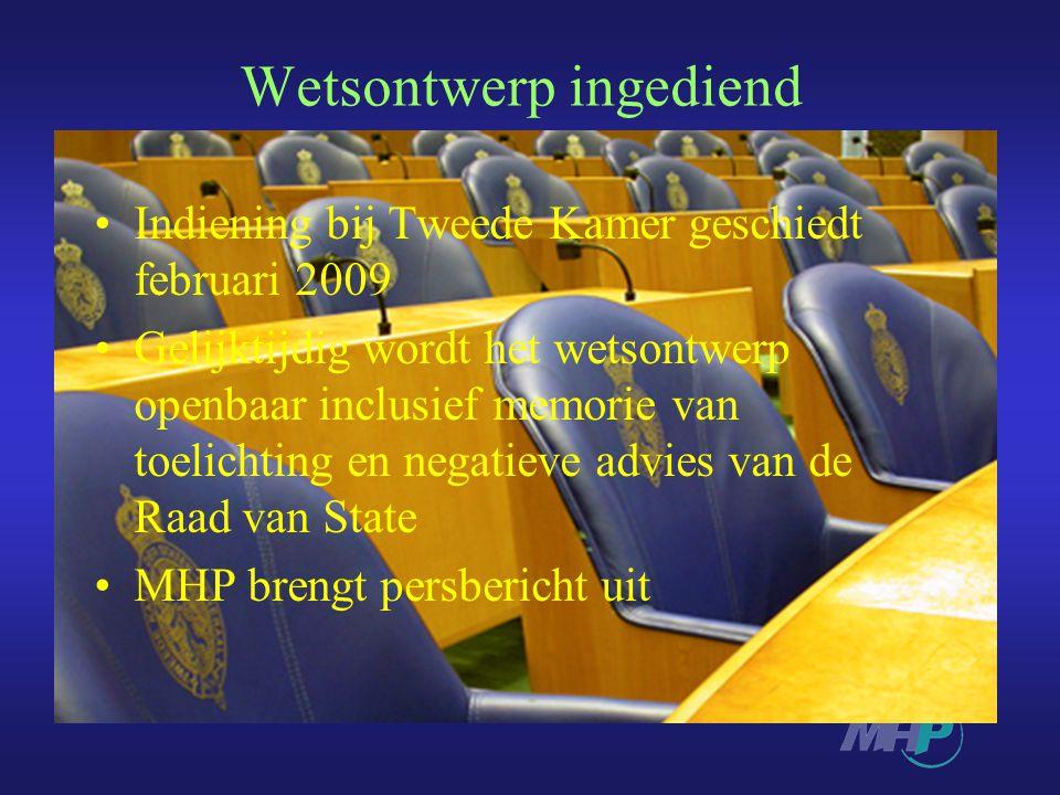 Wetsontwerp ingediend Indiening bij Tweede Kamer geschiedt februari 2009 Gelijktijdig wordt het wetsontwerp openbaar inclusief memorie van toelichting en negatieve advies van de Raad van State MHP brengt persbericht uit