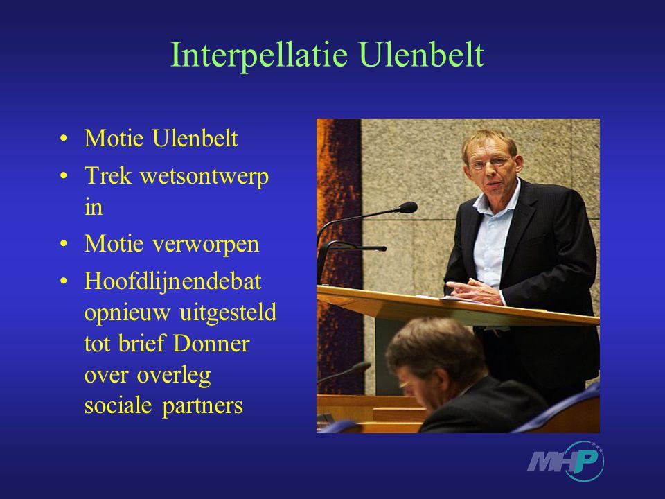 Interpellatie Ulenbelt Motie Ulenbelt Trek wetsontwerp in Motie verworpen Hoofdlijnendebat opnieuw uitgesteld tot brief Donner over overleg sociale partners