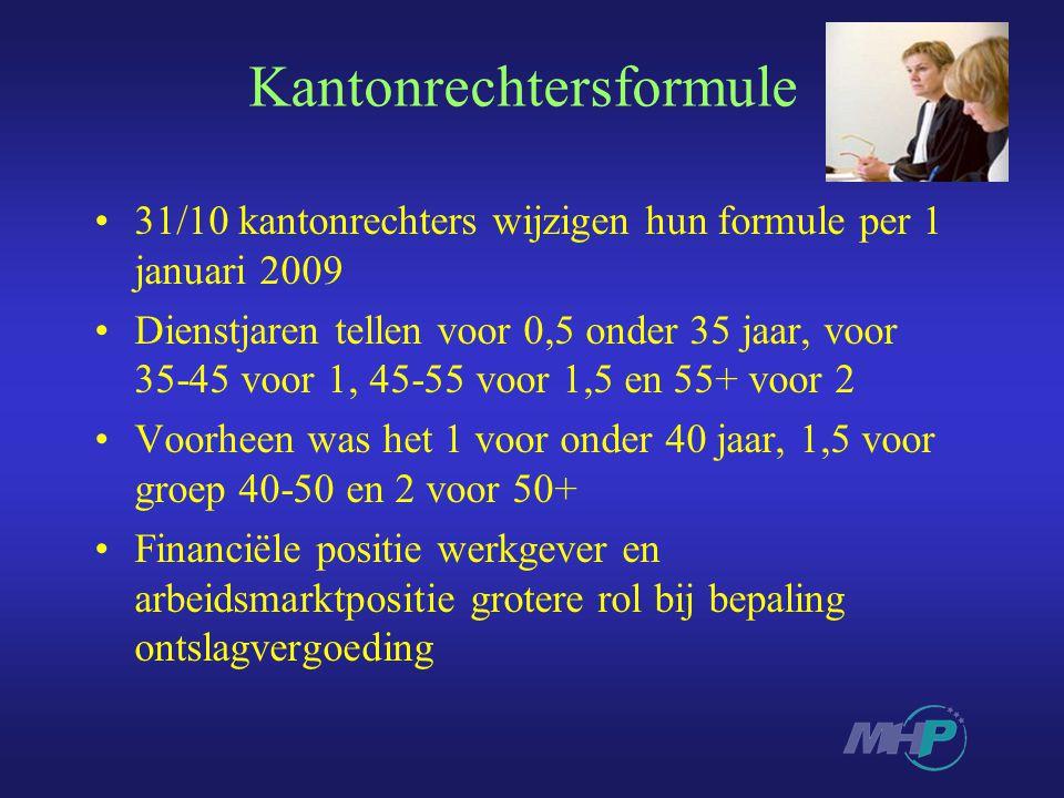 Kantonrechtersformule 31/10 kantonrechters wijzigen hun formule per 1 januari 2009 Dienstjaren tellen voor 0,5 onder 35 jaar, voor 35-45 voor 1, 45-55