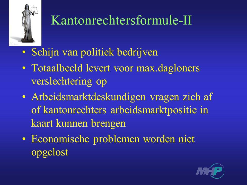 Kantonrechtersformule-II Schijn van politiek bedrijven Totaalbeeld levert voor max.dagloners verslechtering op Arbeidsmarktdeskundigen vragen zich af