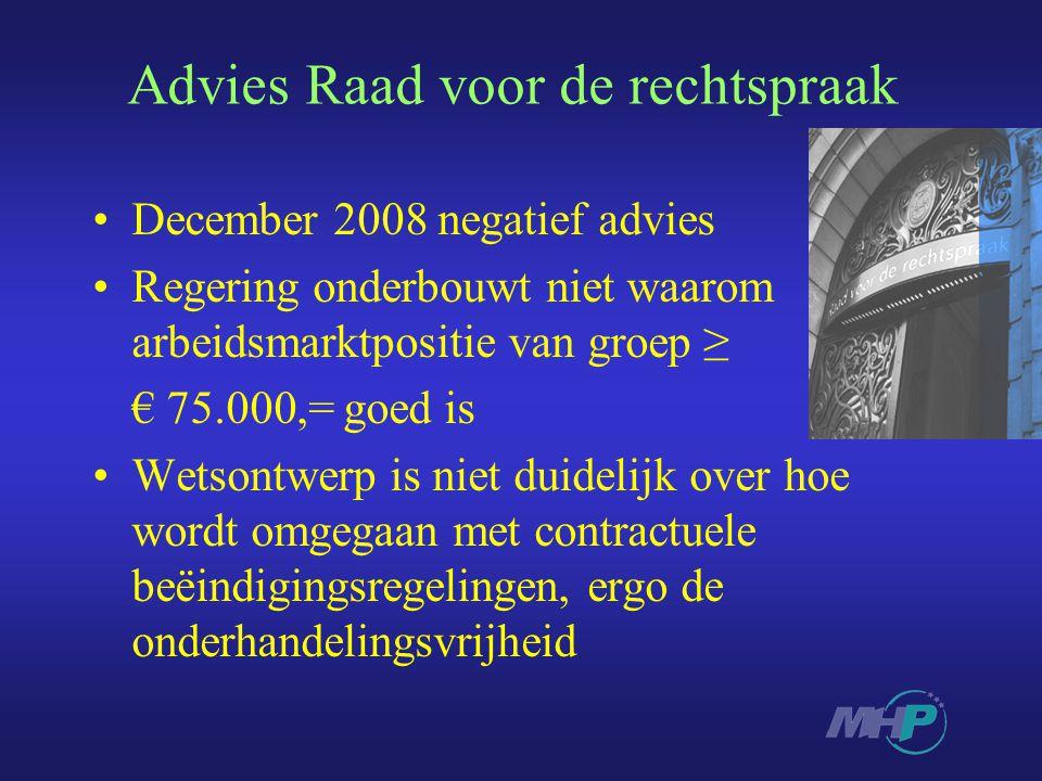 Advies Raad voor de rechtspraak December 2008 negatief advies Regering onderbouwt niet waarom arbeidsmarktpositie van groep ≥ € 75.000,= goed is Wetso