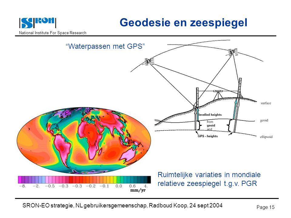 National Institute For Space Research SRON-EO strategie, NL gebruikersgemeenschap, Radboud Koop, 24 sept 2004 Page 15 Geodesie en zeespiegel Waterpassen met GPS Ruimtelijke variaties in mondiale relatieve zeespiegel t.g.v.