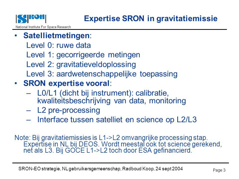 National Institute For Space Research SRON-EO strategie, NL gebruikersgemeenschap, Radboud Koop, 24 sept 2004 Page 3 Expertise SRON in gravitatiemissie Satellietmetingen: Level 0: ruwe data Level 1: gecorrigeerde metingen Level 2: gravitatieveldoplossing Level 3: aardwetenschappelijke toepassing SRON expertise vooral: –L0/L1 (dicht bij instrument): calibratie, kwaliteitsbeschrijving van data, monitoring –L2 pre-processing –Interface tussen satelliet en science op L2/L3 Note: Bij gravitatiemissies is L1->L2 omvangrijke processing stap.
