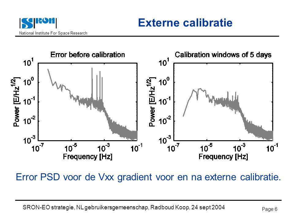 National Institute For Space Research SRON-EO strategie, NL gebruikersgemeenschap, Radboud Koop, 24 sept 2004 Page 6 Externe calibratie Error PSD voor de Vxx gradient voor en na externe calibratie.