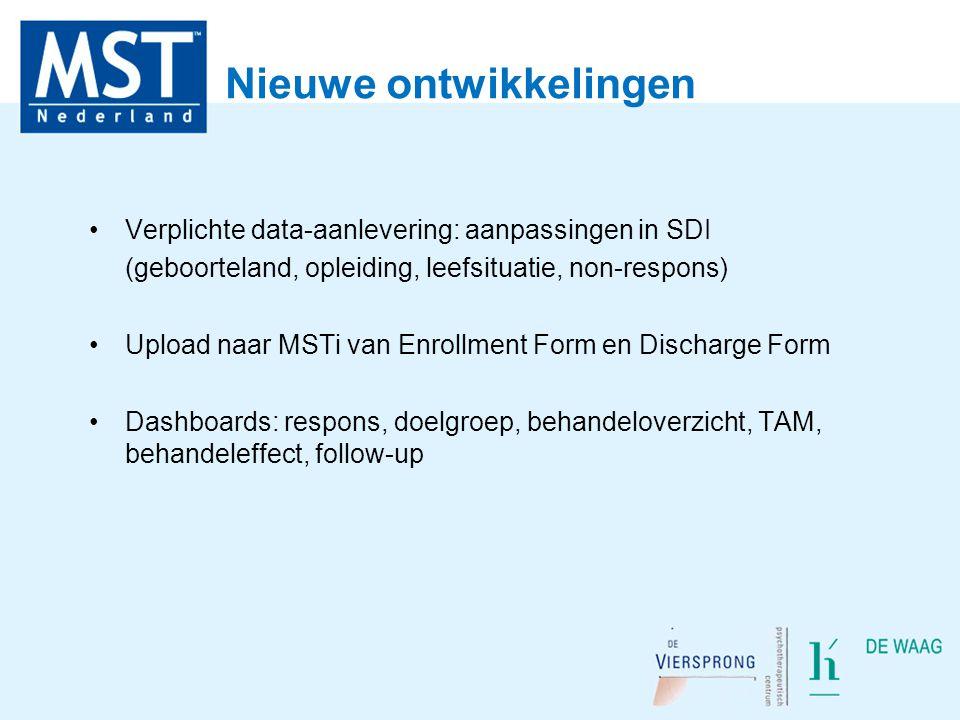 Nieuwe ontwikkelingen Verplichte data-aanlevering: aanpassingen in SDI (geboorteland, opleiding, leefsituatie, non-respons) Upload naar MSTi van Enrol