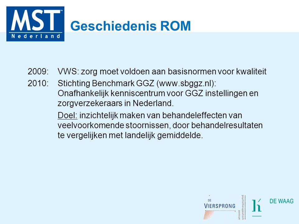 Geschiedenis ROM 2009: VWS: zorg moet voldoen aan basisnormen voor kwaliteit 2010: Stichting Benchmark GGZ (www.sbggz.nl): Onafhankelijk kenniscentrum