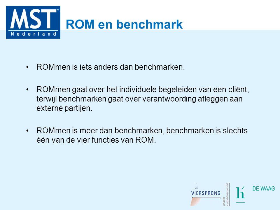 ROM en benchmark ROMmen is iets anders dan benchmarken. ROMmen gaat over het individuele begeleiden van een cliënt, terwijl benchmarken gaat over vera